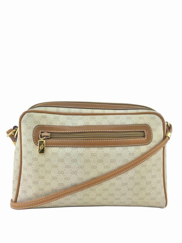 Gucci Vintage Monogram Canvas Crossbody Shoulder Bag Ivory