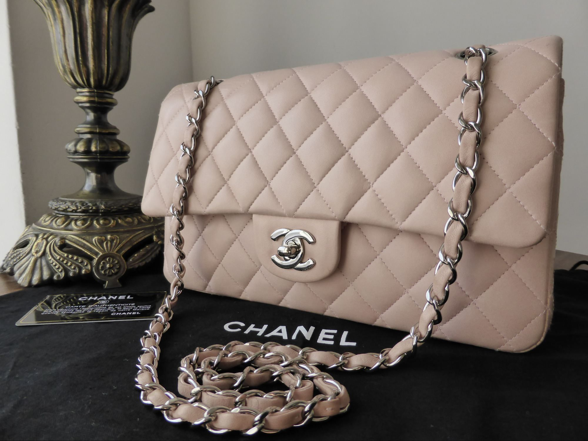 2d369f91a1dd Chanel Timeless Classic 2.55 Medium Flap Bag in Nude Pink Lambskin with  Silver Hardware >