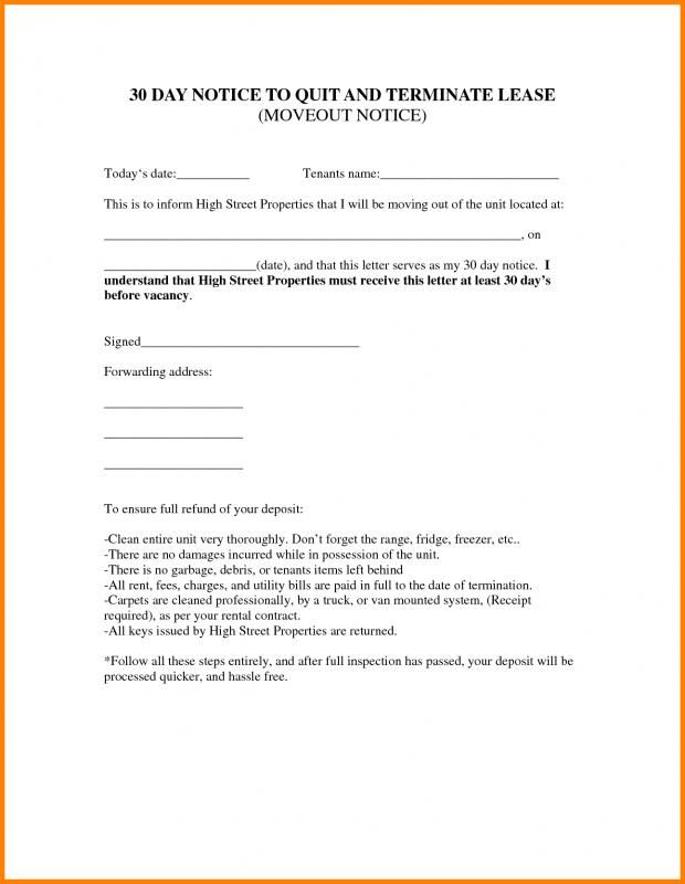 Lease Termination Letter Landlord To Tenant Template Being A