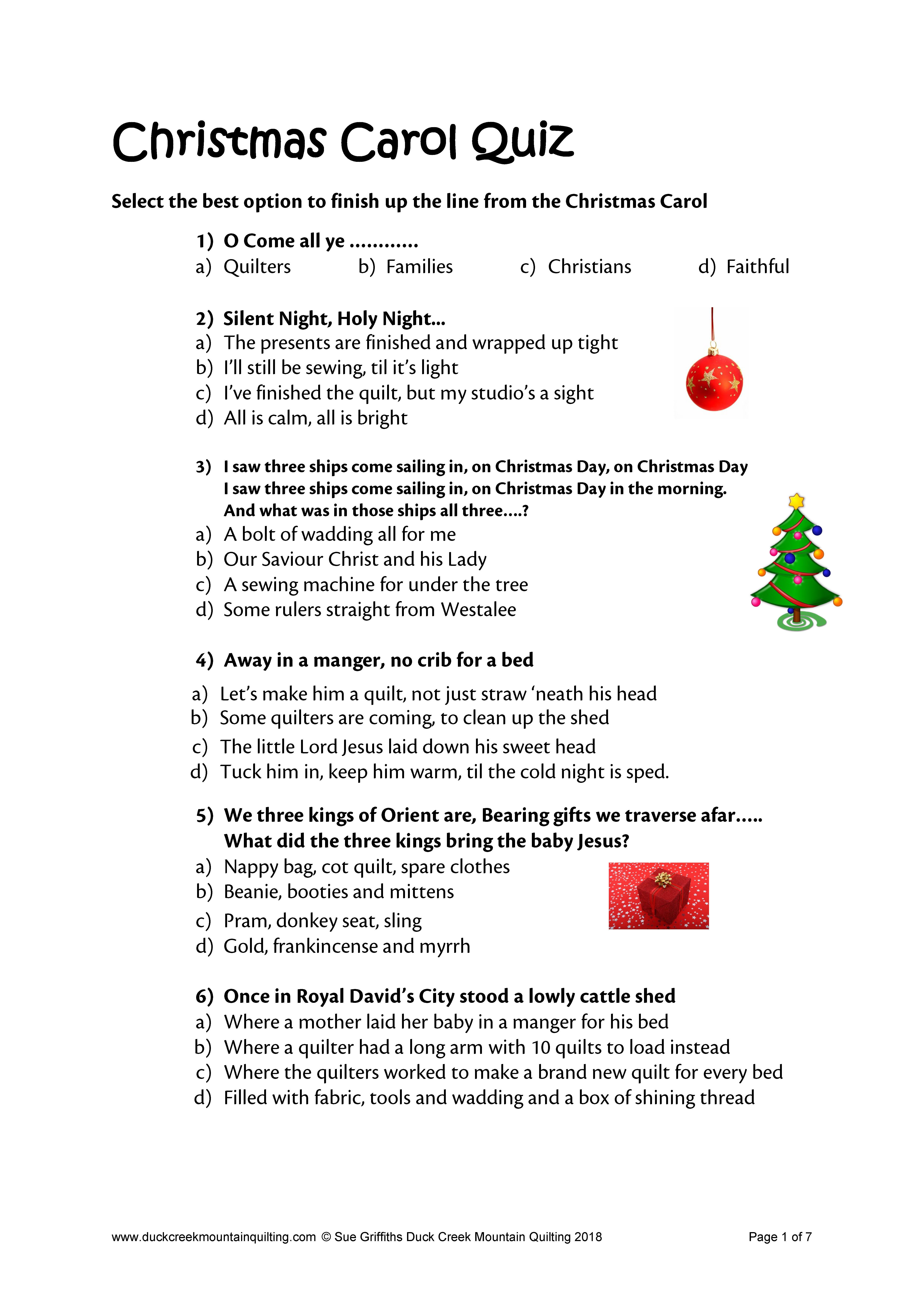 Christmas Quiz Number One Christmas Quiz Christmas Carol Quiz Kids Poems