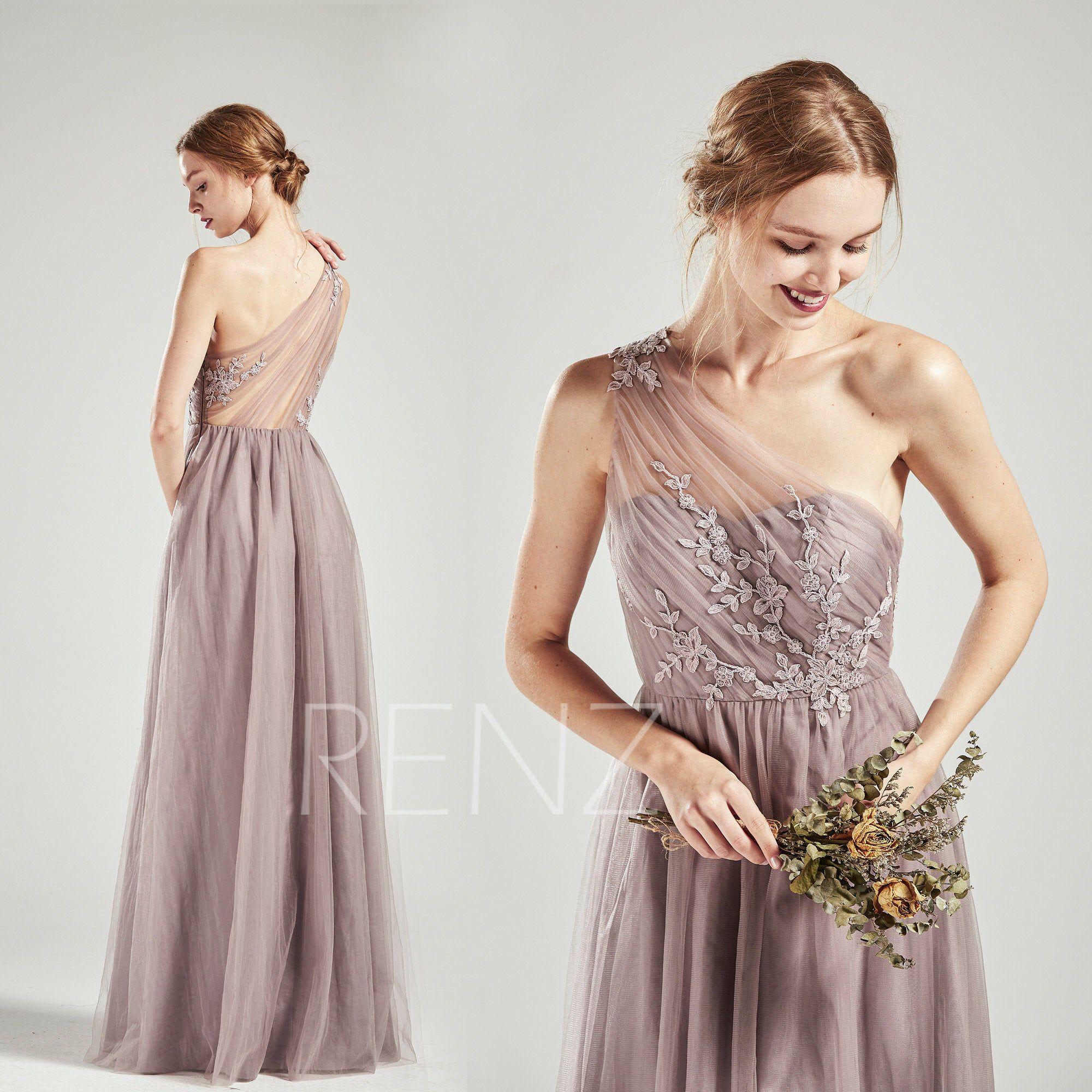 Bridesmaid Dress Mauve Tulle Long Party Dress One Shoulder