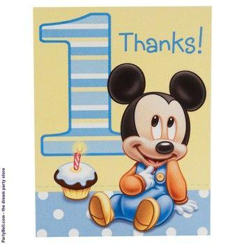 Disney Mickey S 1st Birthday Thank You Notes First Birthday Party