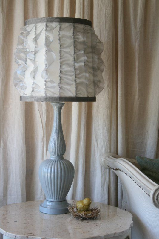 Cheap Lamp Shades Prepossessing Transformation Of An Old Lamp Shadeadding Sheer Ruffles And Trim 2018