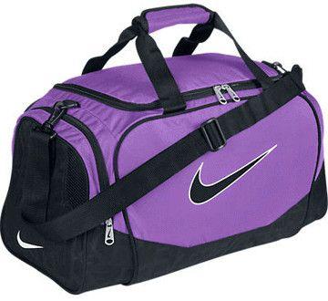 9ae33126f059 (NIKE Brasilia Small Duffle Bag Purple Black Swoosh Athletic Gym Bag)