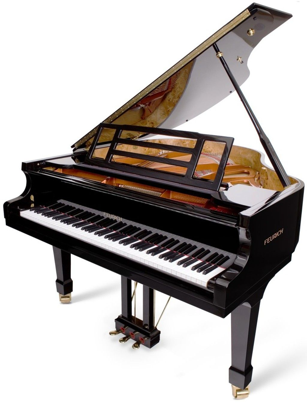 Feurich 161 professional grand piano black with brass or for How big is a grand piano