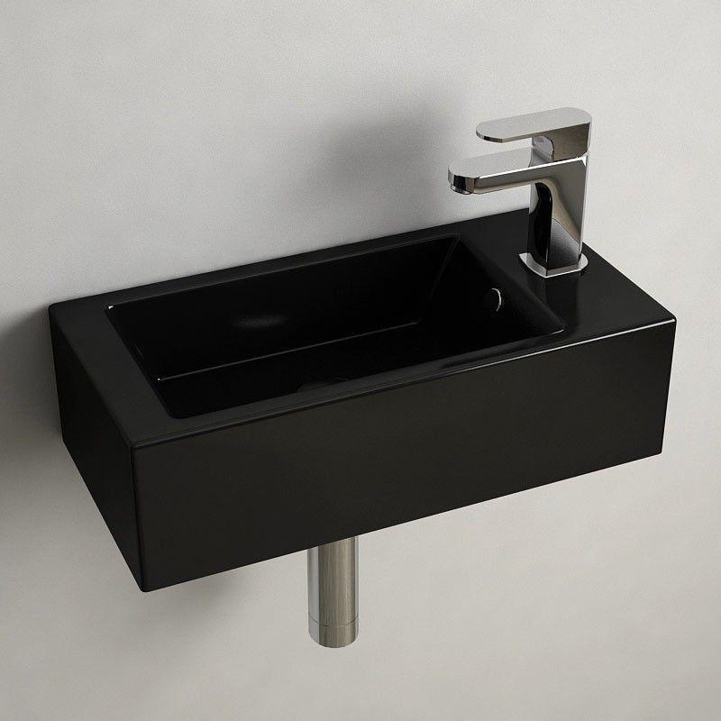 Lave mains Noir gain de place 50x25 cm, céramique, Pure   Toilettes ...