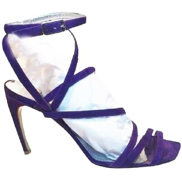 Pre-owned Thierry Mugler Suede Heeled Sandals - [ Roxanne Anjou Closet... (350 BGN) ❤ liked on Polyvore featuring shoes, sandals, none, suede shoes, thierry mugler, heeled sandals, purple suede sandals and thierry mugler shoes