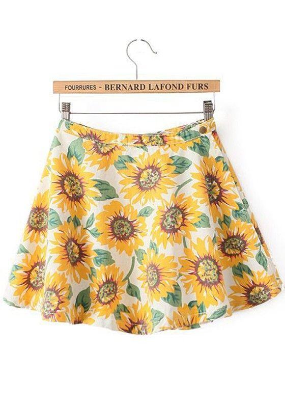 Yellow Floral Elastic Waist Skirt