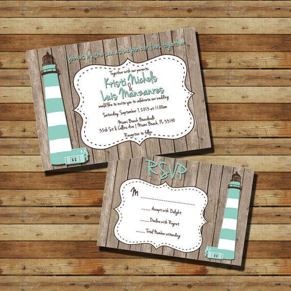 Vintage Lighthouse Pier Nautical Wedding Invitation Rsvps Digital