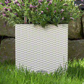 Blumenkübel aus Rattan mit Bewässerungssystem Lechuza Farbe: Weiß, Größe: 40 cm H x 40 cm B x 40 cm T #selfwatering