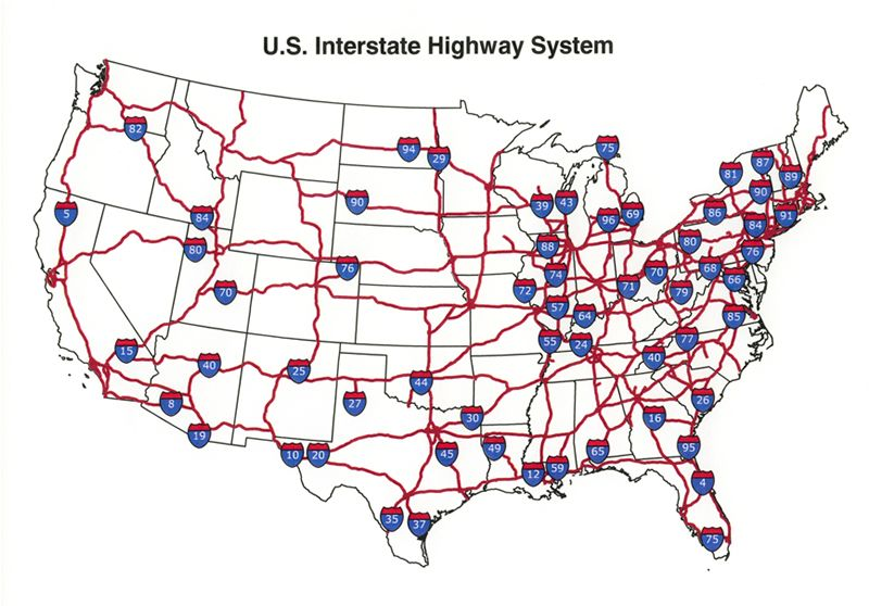 Image Result For Map Of Interstate System In Usa Travel - Us map of interstates