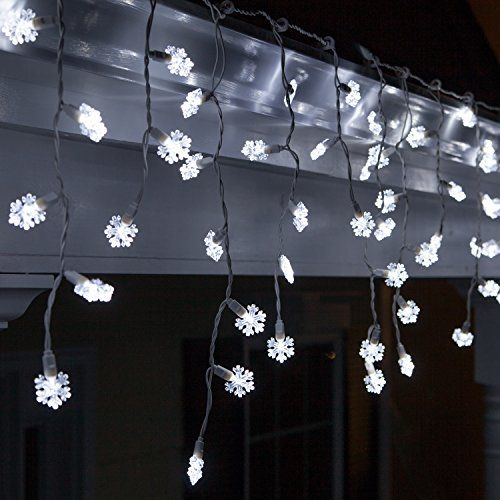 70 Snowflake Cool White LED Icicle Lights 75 White Wire Outdoor
