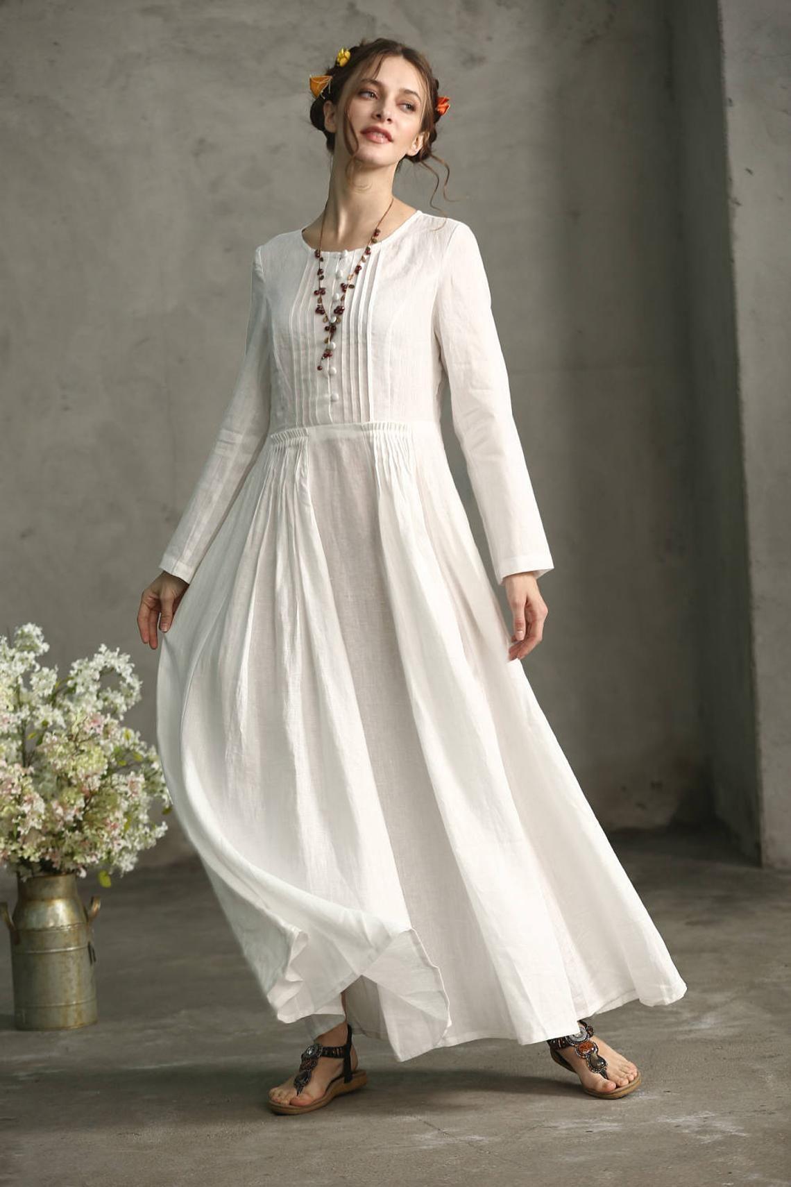Weiß Leinenkleid, Lockeres Kleid, Strand - kleid, Weißes ...