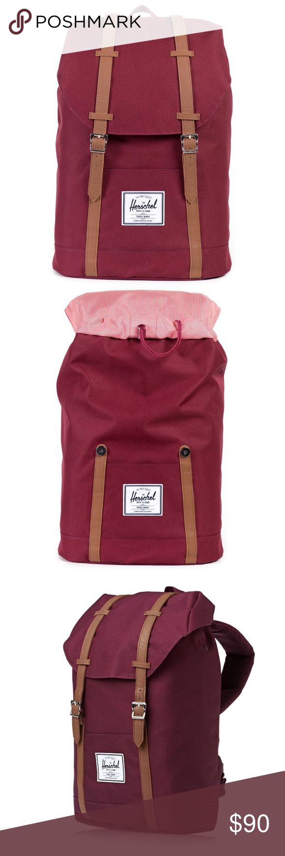 f69f0b4e55 NWT HERSCHEL RETREAT BACKPACK WINDSOR WINE The Herschel Retreat™ backpack  is a streamlined rendition of