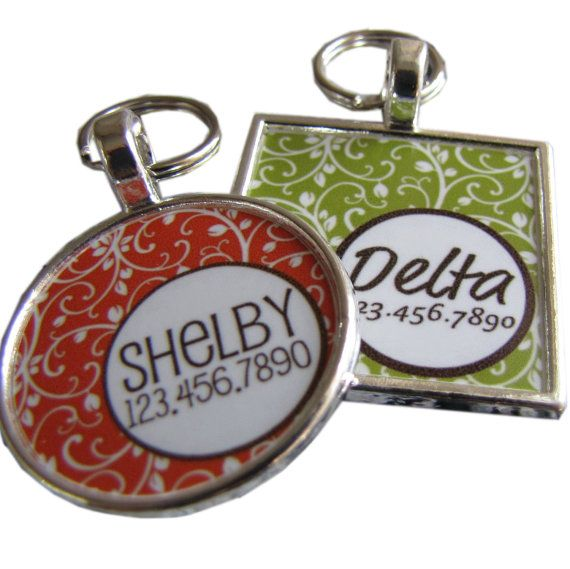 Garden Party Custom Pet ID Tag Orange or by sofacitysweethearts, $9.99