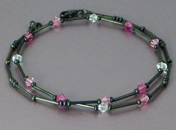Necklace+Pink+Black+Crystal+Swarovski+Metal+by+ByDeborahSueDesigns,+$13.00