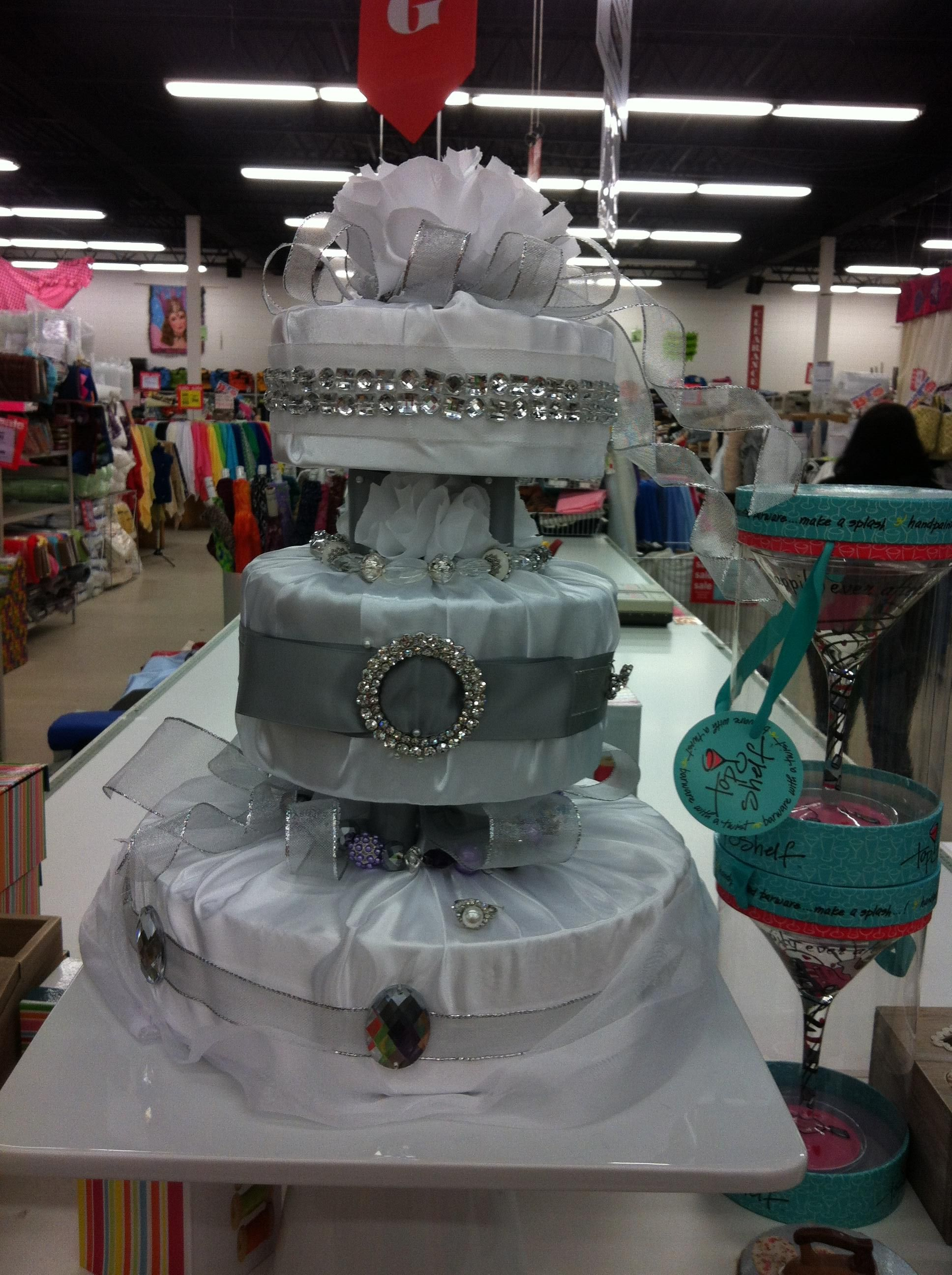 A Fabric Wedding Cake Made By Barb At Our Fabricland Store In Sudbury Ontario