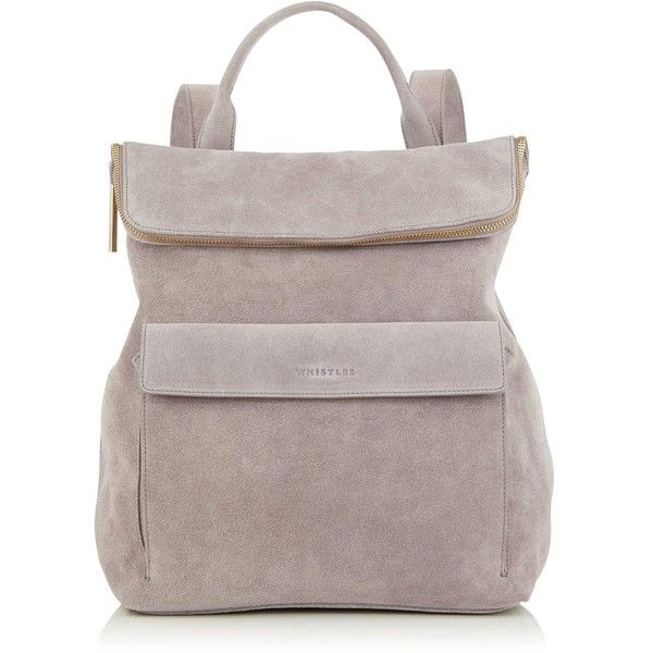 Whistles Verity Suede Backpack (£280) ❤ liked on Polyvore featuring bags, backpacks, grey, foldover bags, grey suede bag, zip top bag, top handle bags and gray bag
