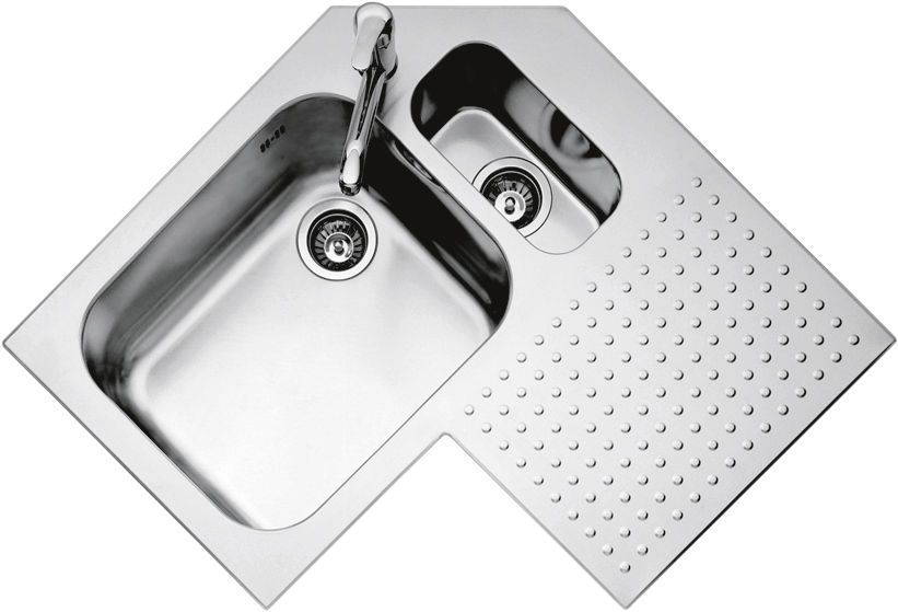2 Bowl Kitchen Sink Stainless Steel Angle With Drainboard 1is9090d F Lli Barazza Srl Double Kitchen Sink Sink Kitchen Sink