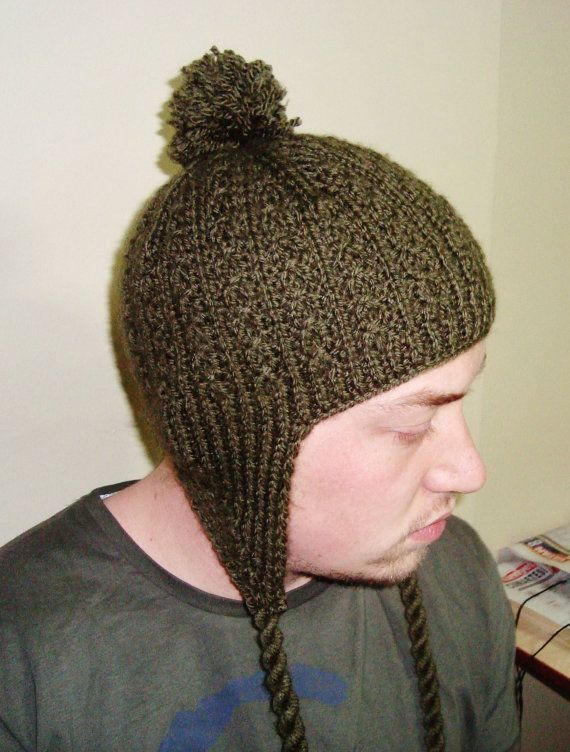Ear Flap Mens Hat Fashion Military Green Hand Knit by ...