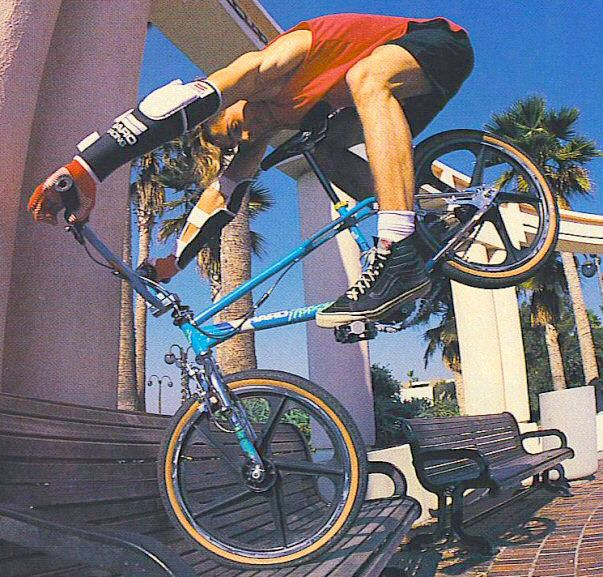 Ron Wilkerson / street riding/endo on a park bench!