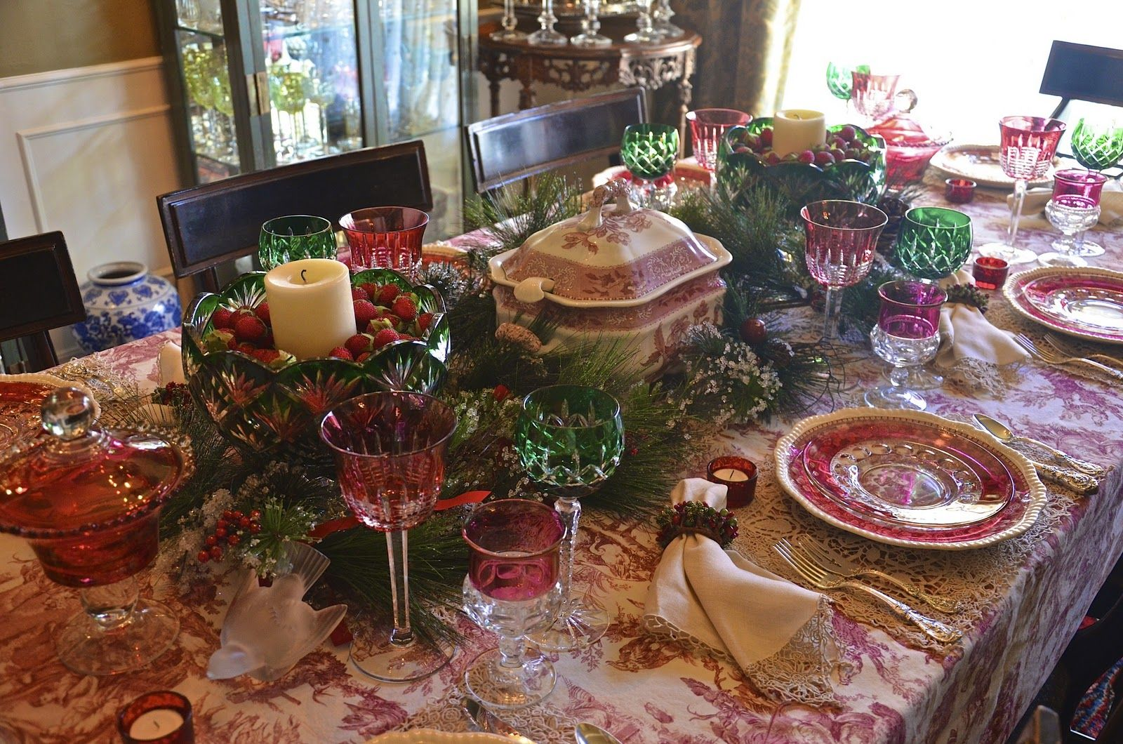 Williams Sonoma Tablecloths | Was Eager To Use The Williams Sonoma Toile  Tablecloth, A Recent EBay ... | Tablescapes | Pinterest | Toile,  Tablescapes And ...