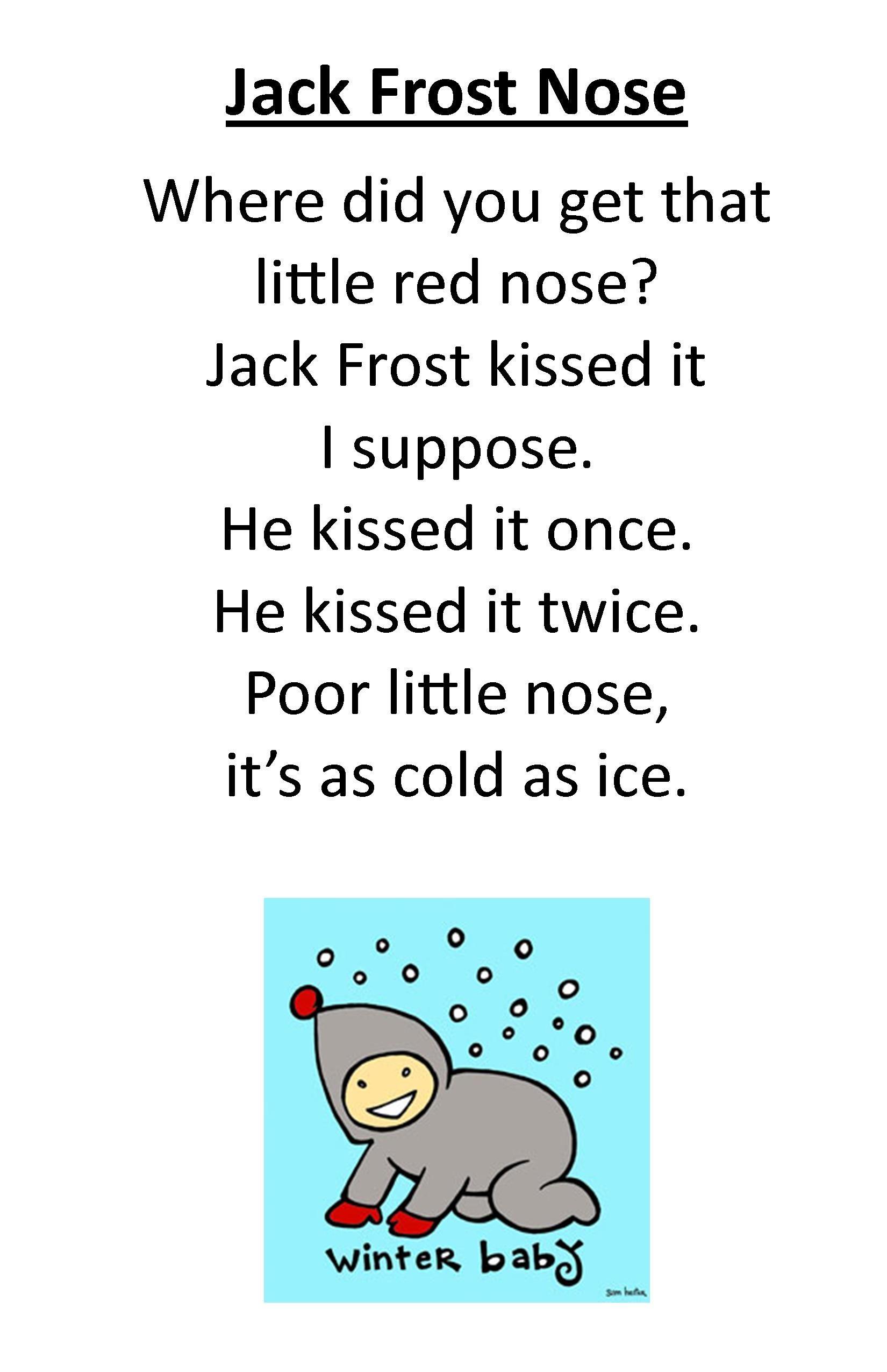 itty bitty rhyme jack frost nose preschool songs fun songs kids kids poems