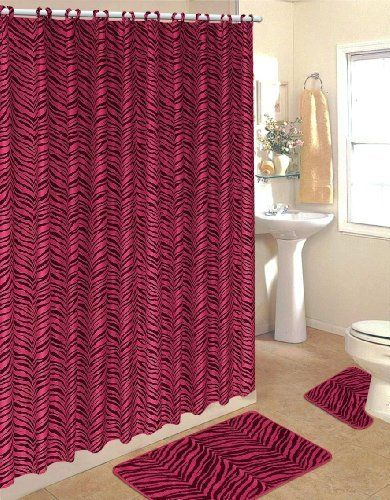 Hot Pink Zebra Fabric Shower Curtain Fabric Covered Rings Area Rug