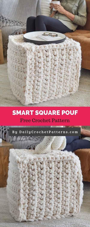 Smart Square Pouf [FREE CROCHET PATTERN] - Daily Crochet Patterns  #freecrochetpattern #freecrochet #crochet3 #easycrochet #patterncrochet   #Crochet #Daily #Free #Pattern #Patterns #Pouf #SMART #square