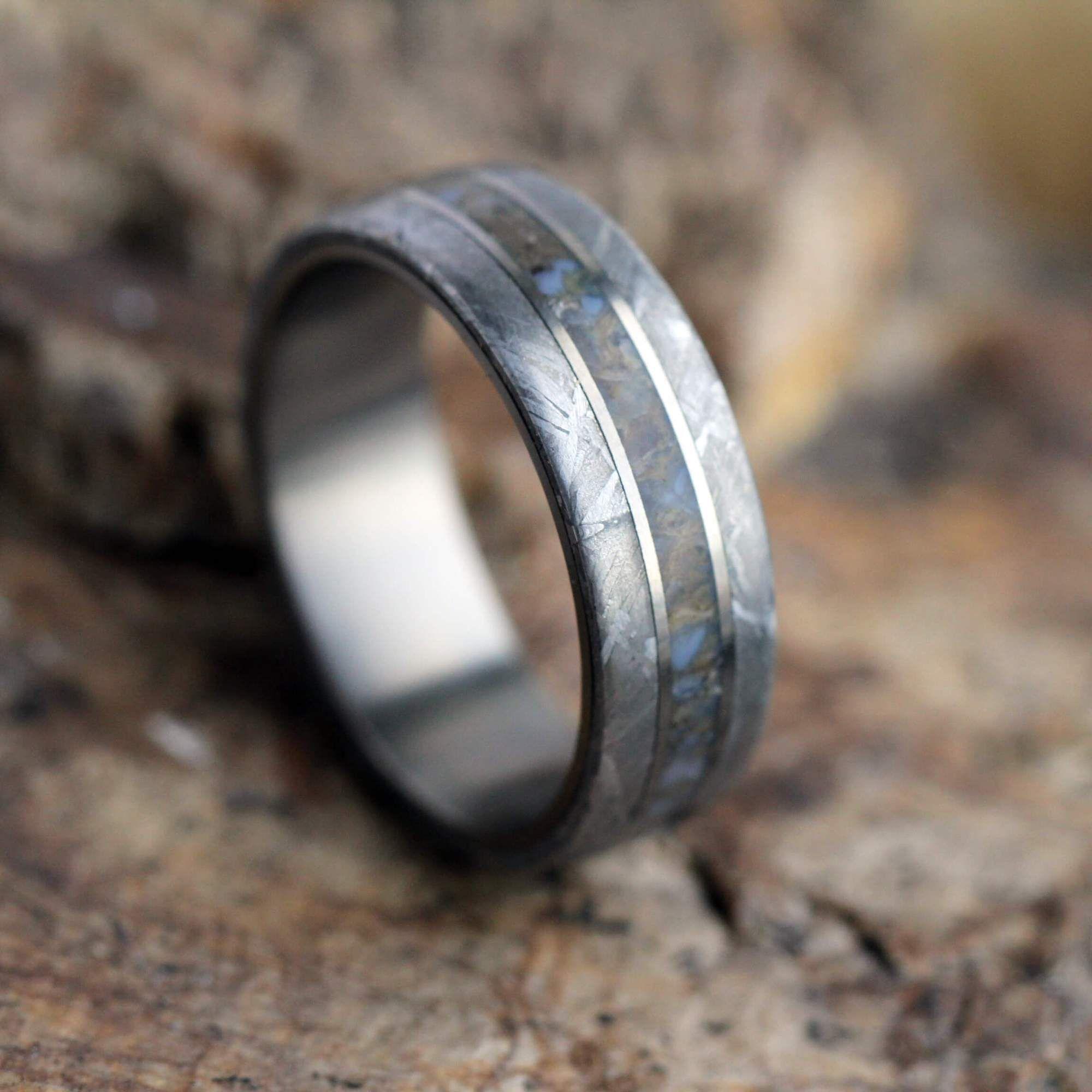 Plus Size Men's Dinosaur Bone Ring With Meteorite Edges