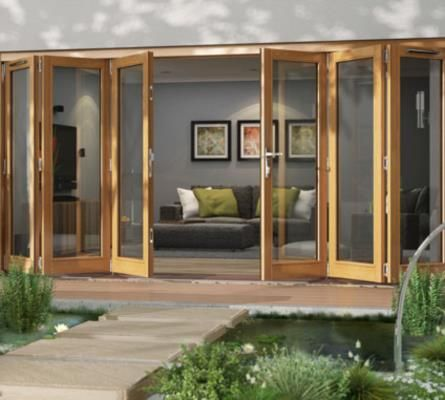 Bifold exterior doors jeld wen patio doors oak for Exterior folding doors