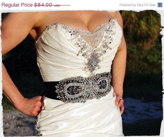 On Bridal Sash Black Embellished Belt Infinity Crystallized