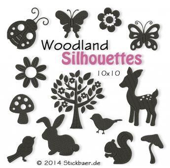 Der Stickbär | Woodland Silhouettes | Stickmuster mit Herz