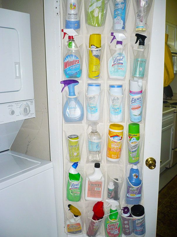 Use A Hanging Shoe Rack To Cleaning Supplies And Keep Them Away From Children