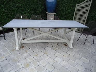 Outdoor Dining Table Zinc Top X Base Dining Table Mecox Gardens