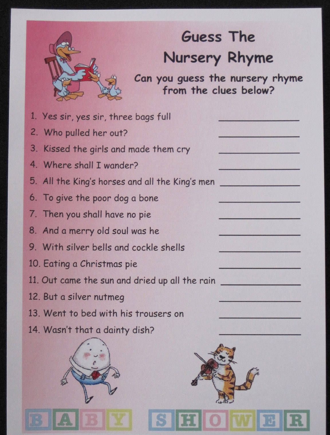 Baby Shower Games Guess The Nursery Rhyme Pink Printable