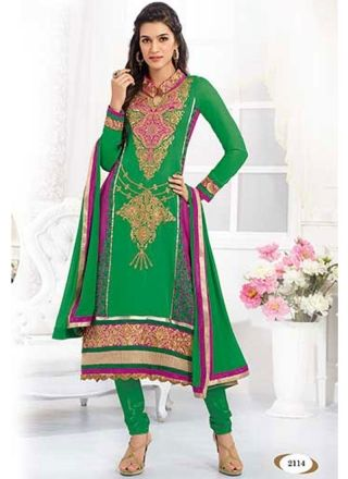 Charming Green Georgette Casual Anarkali Suit
