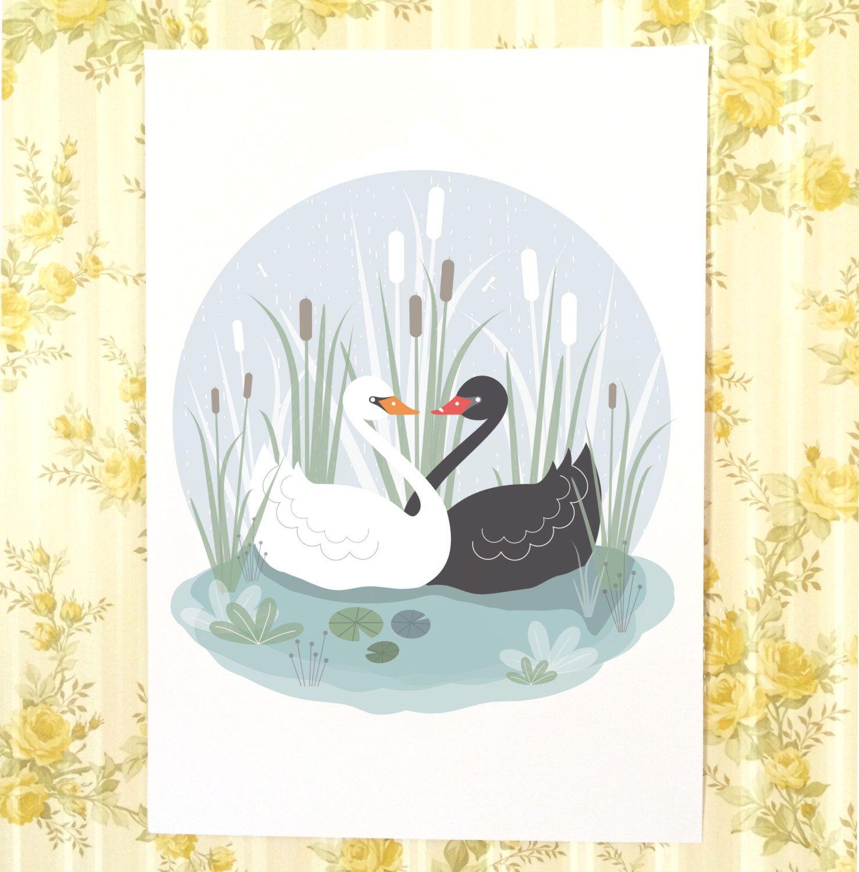 Swan Lake Illustration Print, White Swan Black Swan, Nursery Decor,
