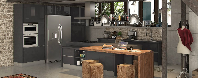 cuisine matera ixina cuisine pinterest table en bois massif loft industriel et tables. Black Bedroom Furniture Sets. Home Design Ideas