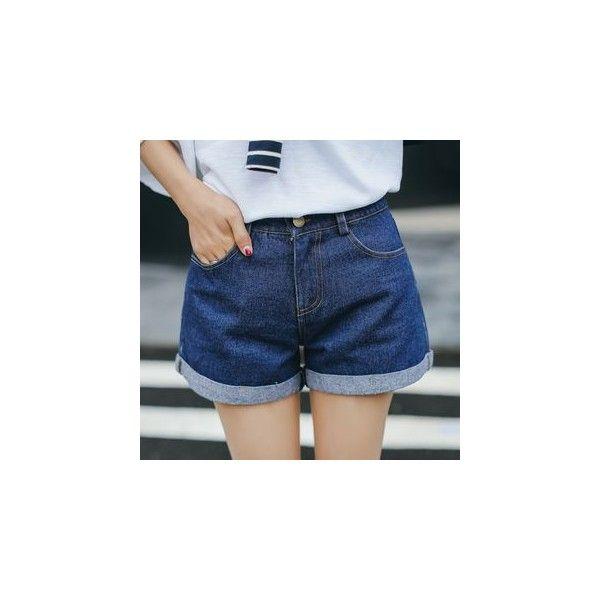 Cuffed Denim Shorts ($14) ❤ liked on Polyvore featuring shorts, women, cuffed denim shorts, cuffed shorts and dark blue shorts
