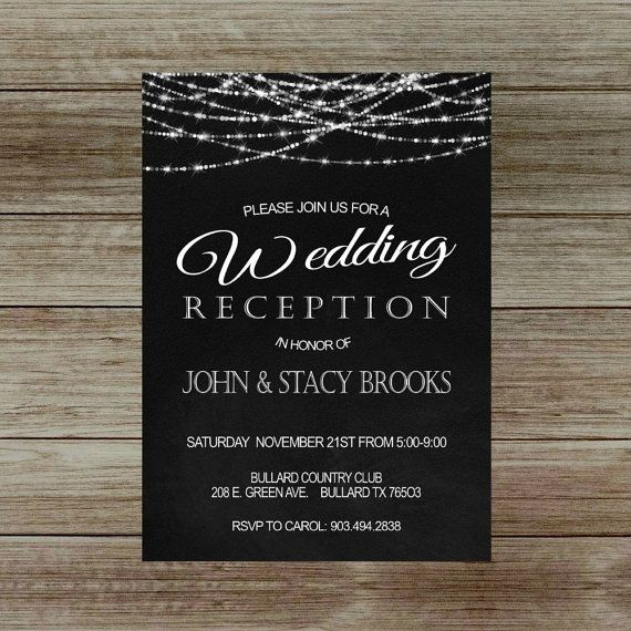 Elegant Wedding Reception Invitation On Chalkboard Only Printed Invitations Or Digital File