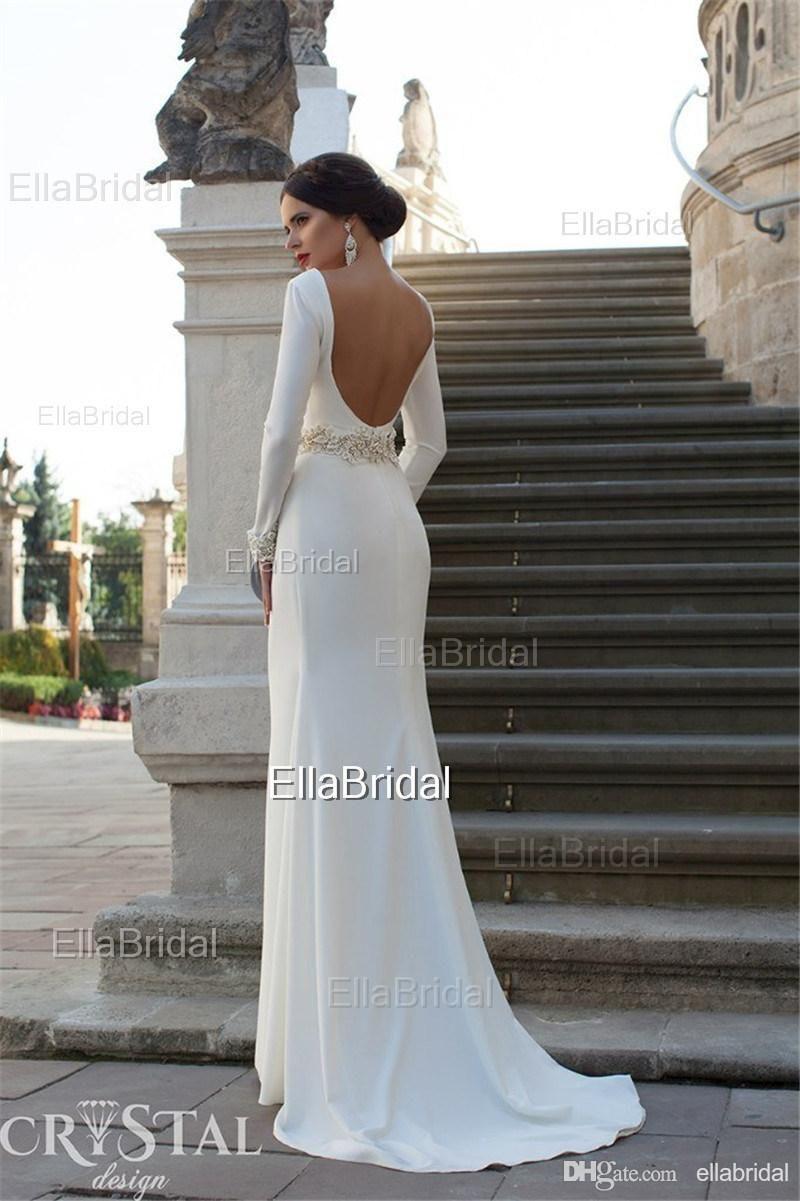 Designer Sheath Column Long Sleeves Backless Wedding Dresses Sexy