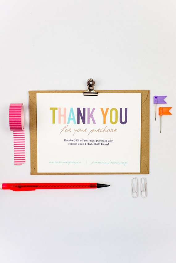 Business Thank You Cards template INSTANT DOWNLOAD - Naturally