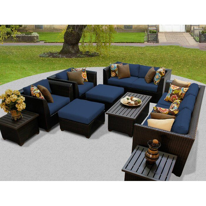 Tegan 12 Piece Multiple Chairs Seating, Outdoor Wicker Patio Furniture Sets