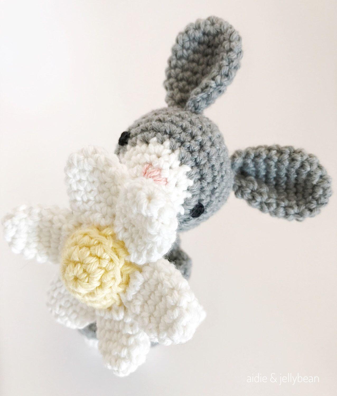 BUNNY crochet, amigurumi bunny with flower, crochet toy, gift for ...