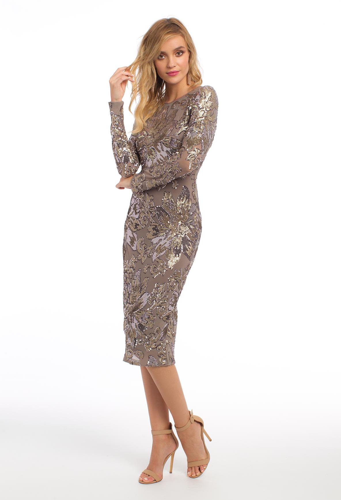 Long sleeve flower pattern sequin dress homecoming dresses
