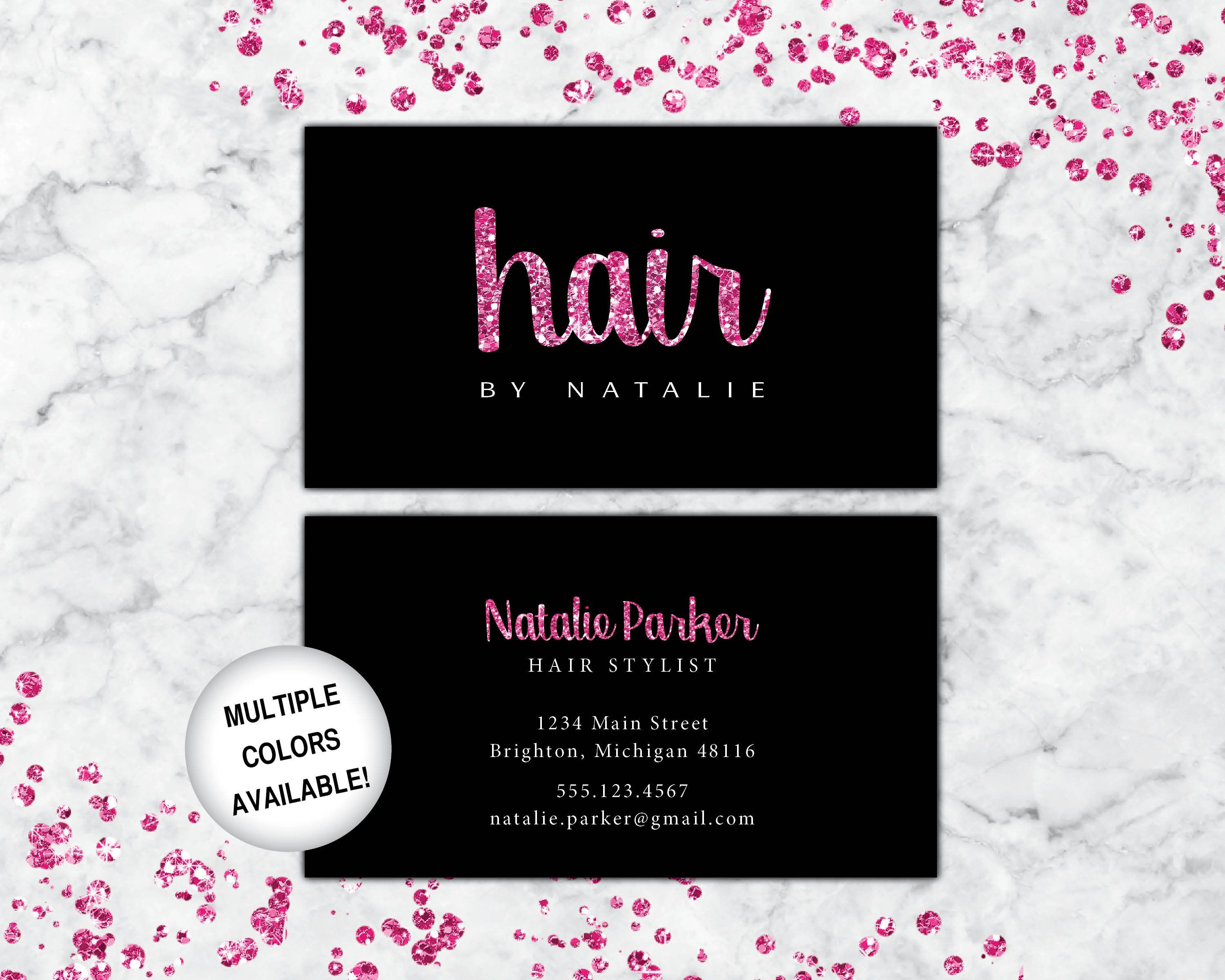 Business Cards Hairstylist Hairdresser Business Cards Pink And Black Business Cards Hairstylist Business Cards Hair Business Cards Beauty Business Cards