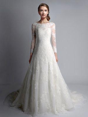 Vintage Bateau Neck Long Sleeves Lace Wedding Dress | Lace wedding ...