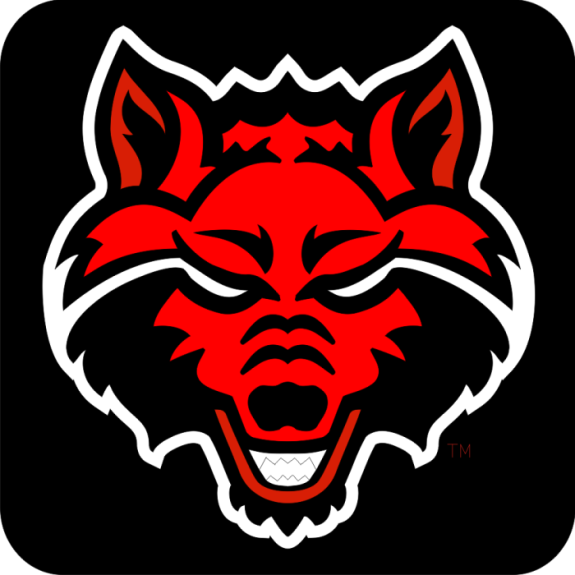 Arkansas State University Hc Wolf Head Logo Black Red Silver Red Wolf Arkansas State University Arkansas State