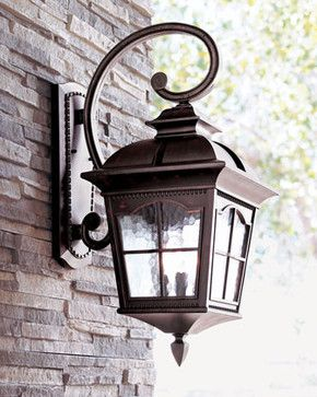 Three Light Wall Lantern Traditional Outdoor Lighting Horchow Exterior Light Fixtures Outdoor Light Fixtures Front Porch Lighting